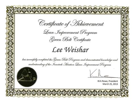 green belt certificate template speaking leadership to freedom