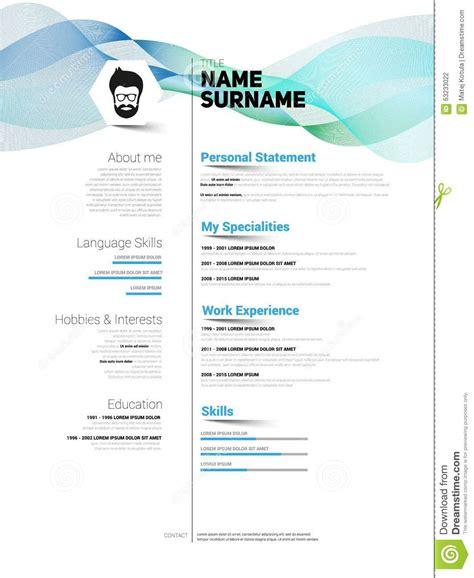 curriculum vitae minimalist design minimalist cv stock illustration image 63233022