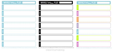 7 best images of weekly menu planning free printables