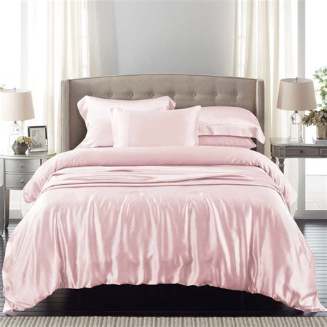 light pink silk duvet cover set