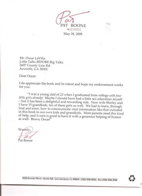 Endorsement Letter For Book Pat Boone Says Yes To Shame Free Talk Pr