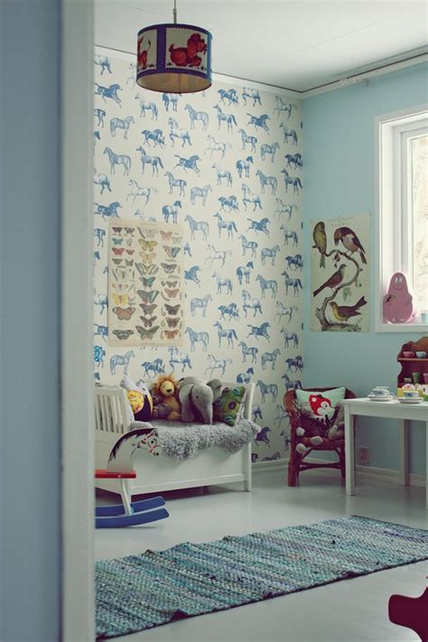 children room wallpaper blue vintage kids room horse wallpaper decor pinterest