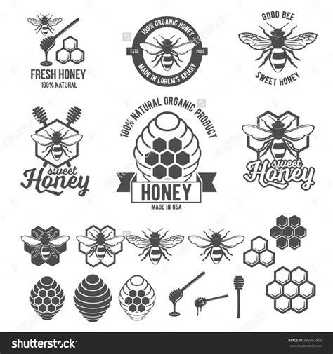 design elements type set of vintage honey labels badges logotypes and design