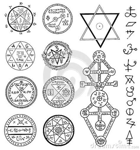 doodle pentagram mystic set with magic circles pentagram and symbols stock