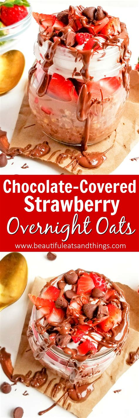 12 Ingredients And Directions Of Decadent Chocolate Tofu Cheesecake Receipt by Decadent Chocolate Covered Strawberry Overnight Oats