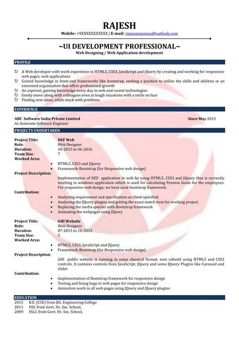 resume format for web designer web designer sle resumes resume format templates