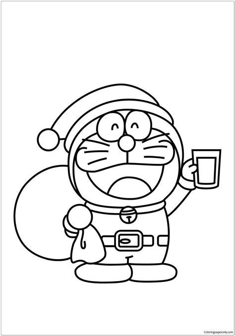 coloring page doraemon christmas santa doraemon coloring page free coloring