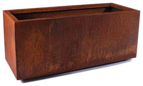 Corten Planter Boxes by Veradek Metallic Series Corten Steel Box Planter Large Industrial Outdoor Pots And