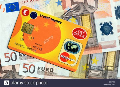 a post office travel money card and euros stock photo