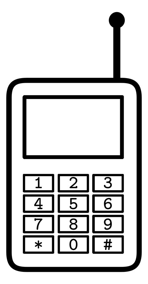 free black mobile cell phone clipart black and white free clipart
