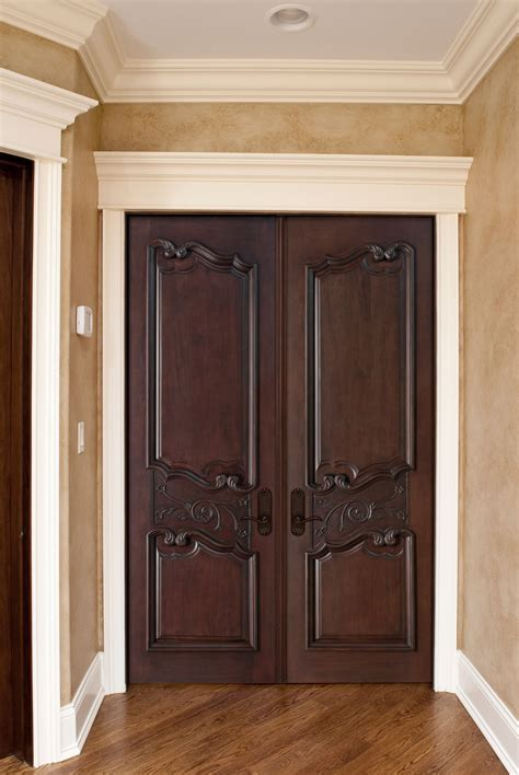 Six Panel Solid Wood Interior Doors Interior Door Custom Double Solid Wood With Dark