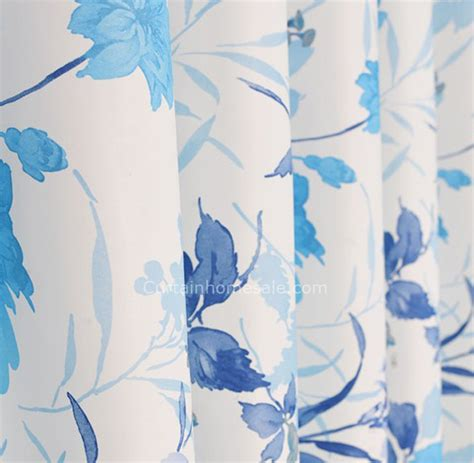 Blue And White Floral Curtains Blue And White Floral Printing Bay Window Panel Curtains
