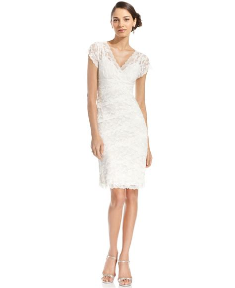 Sleeve Tiered Dress lyst marina cap sleeve lace tiered dress in white