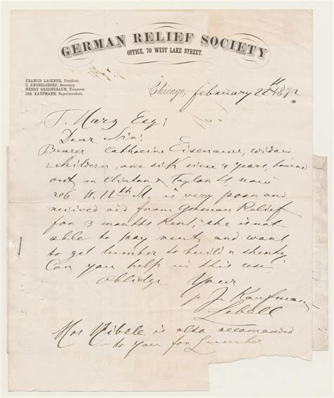 Letters And Society Chicago Charity At Home German Relief Society Letter February 22 1872 Ichi 63800 The Great