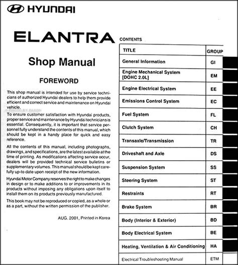 2002 hyundai elantra repair shop manual original