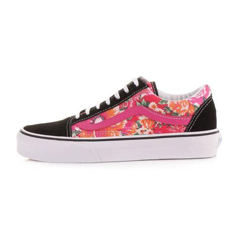 womens vans skool floral pink black casual shoes