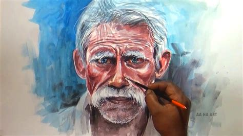 paint man watercolor portrait painting old man portrait painting