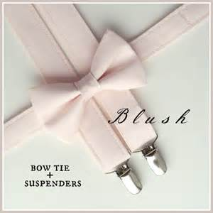 blush bow tie and suspenders pale pink suspenders and bow