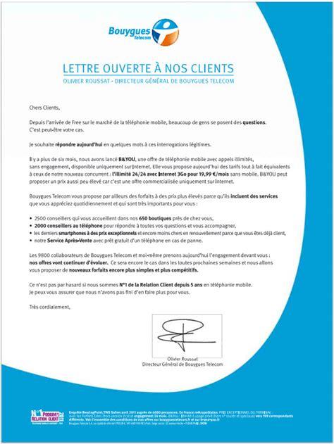 Lettre De Reclamation Free Hors Forfait Bouygues Telecom Adresse Une Lettre Ouverte 224 Ses Clients