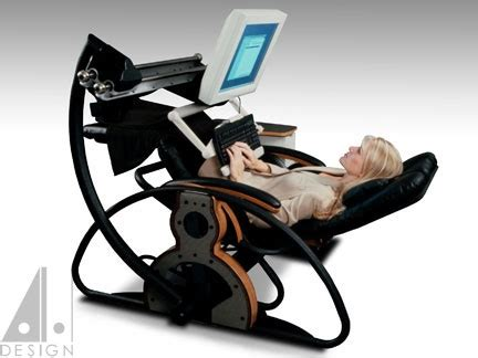 Recliner Computer Table by Supine Workstation Using A Relax The Back Zero Gravity