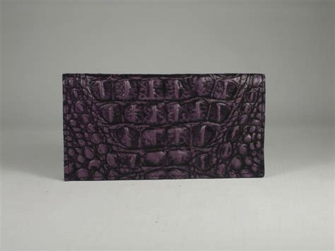 Littlekee Wallet Card Organizer Purple Croco check book cover purple color embossed cowhide leather