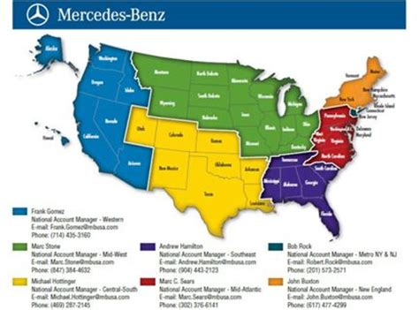 usa map key mercedes usa announces new national account managers
