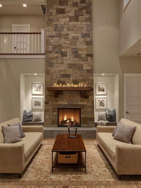 living room with stone fireplace chimenea doble altura decoracion salones pinterest