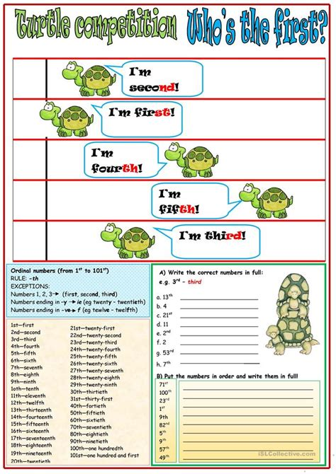 new year story ordinal numbers turtle competition ordinal numbers worksheet free esl