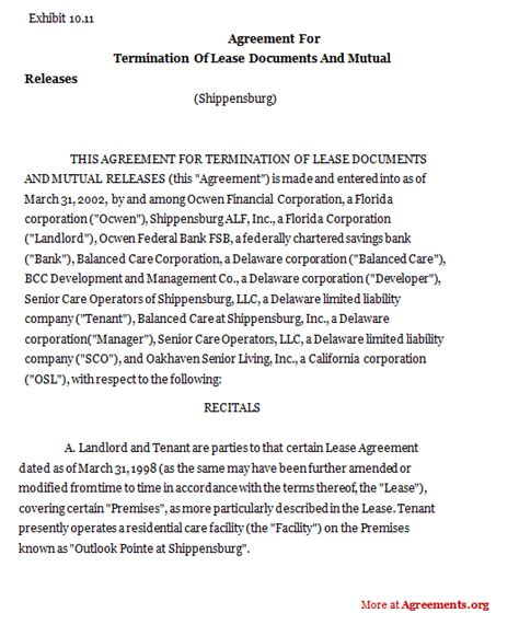 agreement for termination of lease sample agreement for
