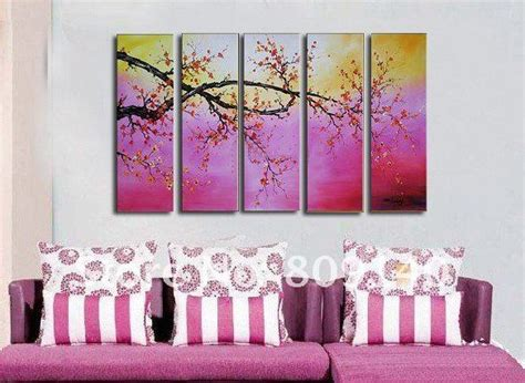 hand painted home decor free shipping abstract painting scenery purple oil