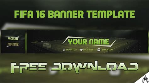 Free Fifa 16 17 Channel Art Banner Free Youtube Template 2016 Clean Youtube Free Channel Banner Template