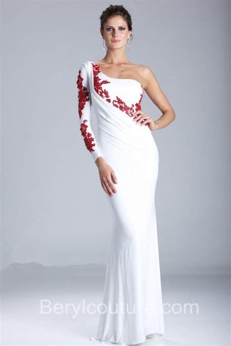 White Elegan turmec 187 white chiffon one shoulder dress