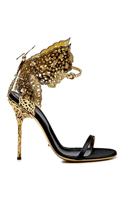 butterfly shoes for lyst sergio butterfly cutout satin and metallic