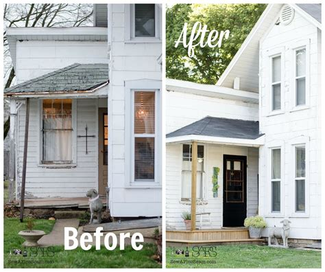 before and after wrap around deck makeover featuring trex porch remodel junk visionaries group challenge sew a