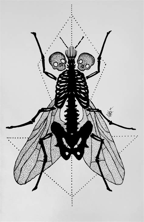 fly dotwork tattoo by marymarylp on deviantart