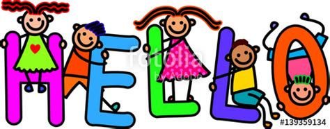 Hk423 6 Ransel Hello L quot happy and diverse children climbing letters of the alphabet that spell out the word hello