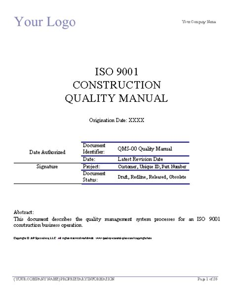 iso 9001 quality manual template free aisc quality manual template free software