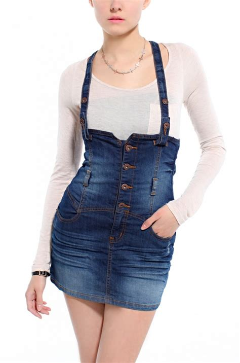 overall skirt in blue lyst
