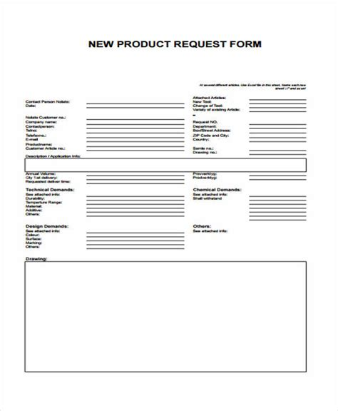 product request form template sle request form