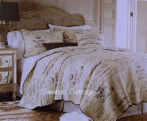 french bedding french script postcard vintage paris lettered cottage
