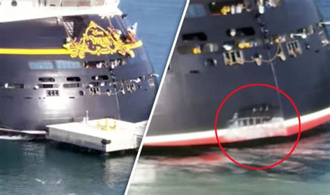boat or ship in dream cruise ship disney dream crashes into metal pier in the