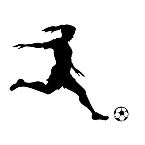 Football Stickers For Walls girl soccer player kicking silhouette sports wall by