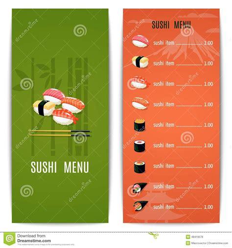 japanese menu card template asian food menu stock vector illustration of cooking