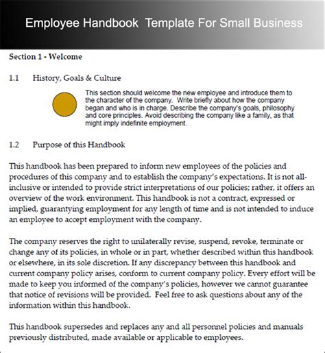 employees handbook template employee handbook templates free word document