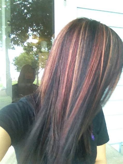 red highlights on black brown blonde hair hair fashion dark hair with red and blonde hi lights beauty