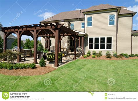 House Plans With Large Windows backyard with pergola stock photo image 21425410