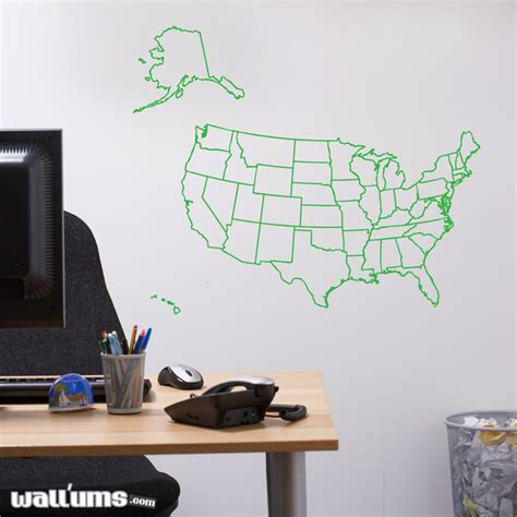 wall sticker map us map outline wall decal sticker