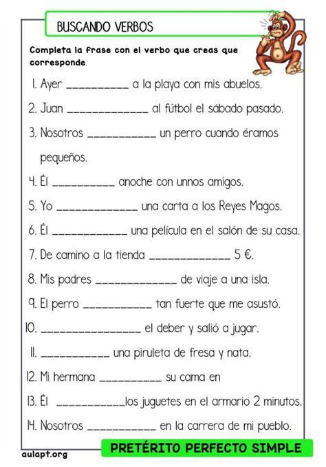 preguntas en pasado simple con verbos regulares en ingles comprensi 243 n lectora de frases buscando verbos en pasado