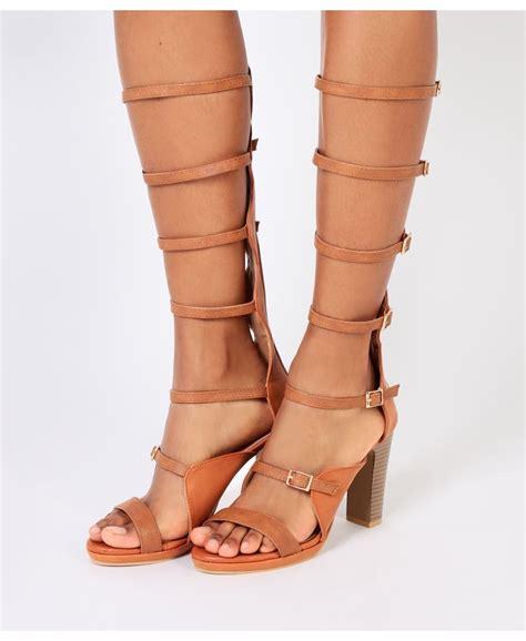 knee high heel sandals krisp knee high heeled gladiator sandals