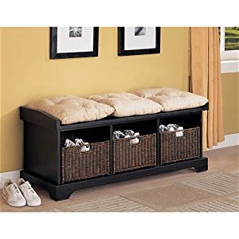 entryway bench with baskets and cushions amazon com coaster entryway bench with storage baskets